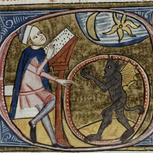 2. An astrologer looking at the sky with a demon inside a circle (London, British Library, MS Royal 6 E VI, f. 396v, London, c. 1360-1375).