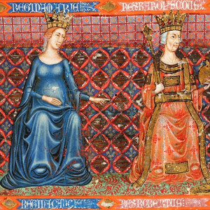 7. Blanche of Anjou with the daughters of Charles II of Naples and Mary of Hungary (left), in the 'Anjou Bible' (Catholic University of Leuven, Maurits Sabbebibliotheek, MS 1, around 1340).