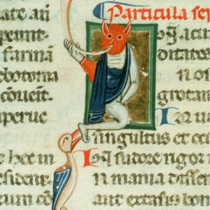 8. Allegory of disease, in a Latin MS of Hippocrates' 'Aphorisms', at the beginning of seventh particle (Yale, Medical Historical Library, MS 28 [Paneth Codex], f. 14v, Italy, c. 1300).