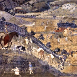 3. Movement of animals entering and leaving the city. Ambrogio Lorenzetti, 'Effetti del buon governo in campagna'. Siena, Palazzo Pubblico, Sala dei Nove (1338-1340).