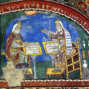 4. Hippocrates and Galen discuss the nature of the material world (crypt of Anagni Cathedral, Italy, 1237).