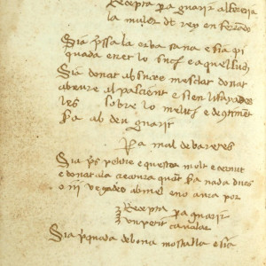 5. Misser Joan, 'Llibre de receptes' ('Book of Prescriptions') (Los Angeles, UCLA Louise M. Darling Biomedical Library, MS Benj. 1-4, f. 79v).